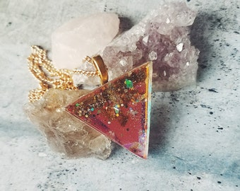 Holographic Resin Triangle Pendant Necklace - Mica Flakes, Iridescent Accents