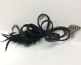 Black feather fascinator hair comb