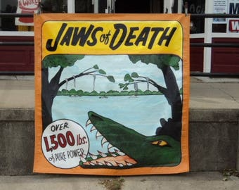 Vintage Sideshow Banner Jaws of Death signed 6' x 6' Sideshow Banner by Jim Hand