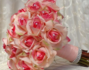 Real Touch PEACH Coral Rose Wedding Bouquet Simplicity