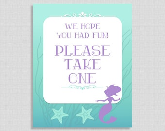 We Hope You Had Fun Please Take One Mermaid Shower Favor Sign, Baby Girl Shower Sign,  INSTANT PRINTABLE