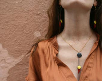 Enamelled yellow tassels Spain Flamenco red leather Piece Unique Tassel necklace