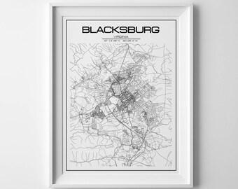 Blacksburg map, chrostmas gift, Virginia print, custom map print, christmas gift, printable map,