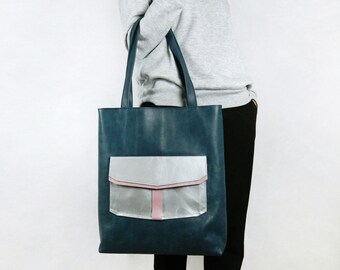 Genuine Leather Bag, Big Shopper, Leather Tote bag