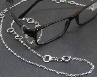 Handcuffs Charm Eyeglass Chain glasses lanyard spectacle holder silver plate charm eyeglass necklace eyewear accessory cwtchus
