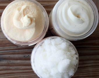 Whipped Soap Organic Body Butter and Organic Sugar Scrub Soap Gift Set 4 oz