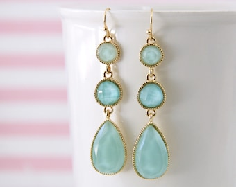 Mint Color Stone Drop Earrings, Bridal  Earrings, Bridesmaid Earrings, Mint Green Earrings, Tear Drop Earrings-2039