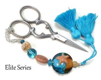 Blue Brown Scissor Fob, Beaded Key Fob, Starfish Scissor Minder, Sewing Accessory, Quilting Tool, Needlepoint, Cross Stitch, Purse Charm