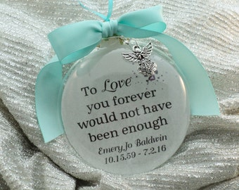 Memorial Ornament To Love You Forever Remembrance for Wife, Husband, Child, Family Member, Free Personalization and Charm