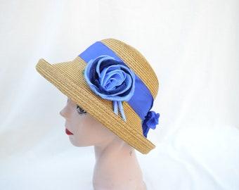 Summer Toast Straw Hat With Flower Trim / Vintage Inspired Hat / Short Cattle Brim Hat / Straw Hat With Blue Trim