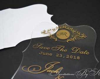 Save the Date, Laser Cut Etched Acrylic Save the Date, Acrylic Save the Date, Luxury Save the Date, Clear Acrylic Save the Date
