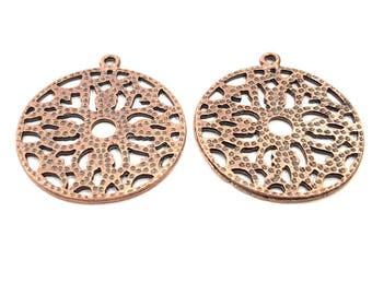 2 Copper Pendant Antique Copper Pendant Antique Copper Plated Metal (38mm) G11537