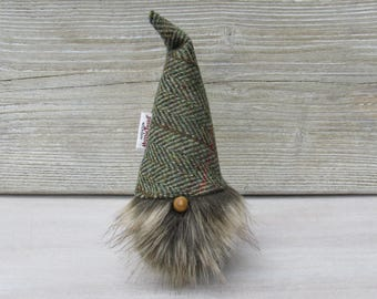 Harris Tweed Green & Fawn Herringbone Scandinavinan Tomte with Minky Beige Bushy Beard