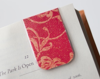 Glitter Magnetic Bookmark, Laminated Bookmark, Red Glitter Bookmark, Flower Design Abstract