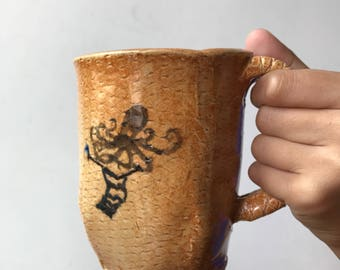 Ceramic knitting octopus mug