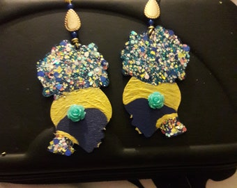 Afro Night Goddess Earrings