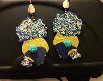 Afro Night Goddess Earrings