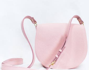Pink Leather Saddle Bag - Pink Leather Crossbody Bag, Pink Leather Purse, Leather Saddle Purse, Pink Leather Purse - Minimalist Leather Bag