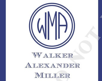 Square Personalized Name or Address Sticker- Monogram and Name- Custom- Set of 24