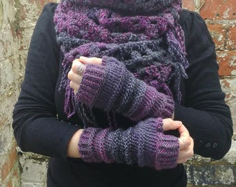 Fingerless gloves  knit fingerless gloves , Purple gloves  knitted armwarmers .Texting gloves - driving gloves , Festival long gloves