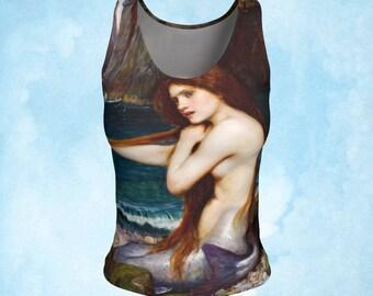 Tank top, Yoga top, mermaid top, mermaid tank, workout wear, waterhouse, waterhouse mermaid, mermaid clothing, pre raphaelite, blue green
