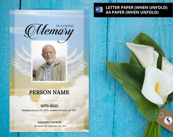 ANGEL WING | Funeral Program Template, Obituary Program, Memorial Program  Template, Microsoft Word