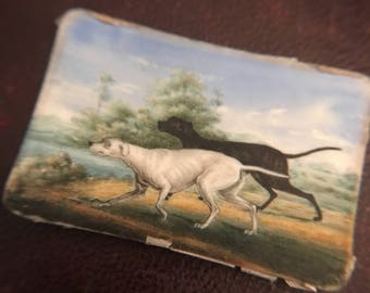Portrait Miniature Of Two Hunting Dogs In a Landscape, Black And White Hounds