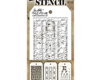 Tim Holtz Collection MINI Layering Stencil Set #16  Crocodile, Measuring Tape and Eye Chart Design Create Backgrounds for Cards & Scrapbooks