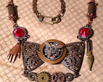 Mixed-Metal Steampunk Bowtie Necklace