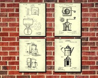 Coffee Making Patent Wall Art Set 4 Prints Kitchen Wall Art Breakfast Bar Decor Cafe Art Poster Set