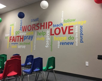 Word collage Faith Worship Love, Youth Room, Church, Christian School, Wordle, wall decal, vinyl decal, colorful collage, word cloud, RE3125