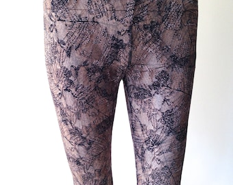 Brown Lace Leggings - Autumn leaves Print Leggings - Printed Stretch Lace Legging - Lace Fashion Leggings Tights for Ladies- Gift for Her UK