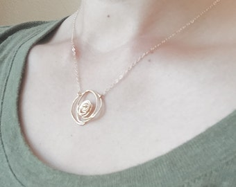 Gold Wire Rose Necklace - 14K Gold Filled Chain, Abstract Design, Nature Inspired, Dainty Feminine, Everyday Casual Necklace