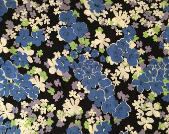 Blue Lavender Spray Rayon Staple Fabric, Printed Rayon, Rayon by the Yard, Fabric Yardage, Wide goods