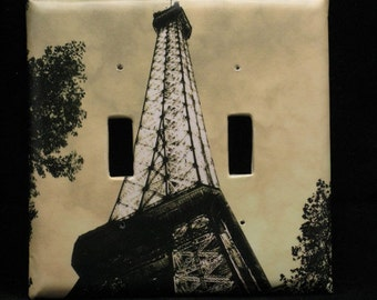 Home Lighting Double Switchplate Cover Paris Decor - The Eiffel Tower at Dusk