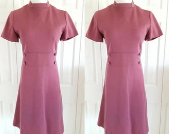 1960s Mod Dress, Vintage 1960s Purple Wool High Neck Mod Solid Wool Sheath Dress Size Medium or Large, Retro Dress