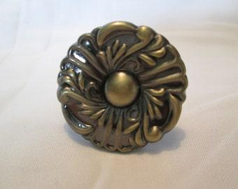 Bronze tone ornate round door knob drawer handle