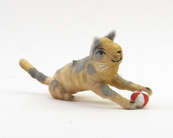 Vintage Style Spun Cotton Gray Spotted Cat With Ball Figure/Ornament (MADE TO ORDER)