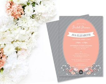 Peach and Gray DIY Printable Bridal Shower Invitation