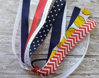 Red,Navy,white Softball Streamers,Softball Streamers,Navy,White,and Red Streamers,White,Red,Navy Blue Softball Streamers,Softball Hair Bows.