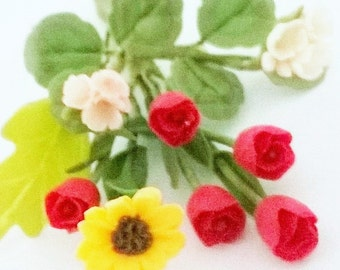 Miniature Polymer Clay Supplies Sunny Sunflowers, Tulips and Geranium Flowers Bunch