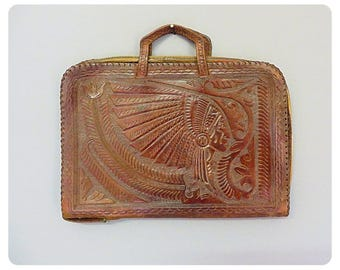 Vintage briefcase in mexican tooled leather