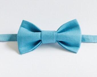 Handmade Bow Tie - Blue Linen