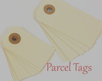 "Parcel Tags, 100 Gift Tags, Hanging Tags 100 Manila Shipping / Parcel Tags - Small - 2 3/4 x 1 3/8""  tags Ivory Tags,  Gift Tags,  Packaging"