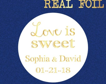 Personalized wedding stickers, wedding favor stickers, love is sweet stickers, foil stickers, wedding envelope seal, Bridal shower stickers