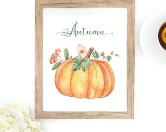 Pumpkin printable, Fall printable, Autumn printable, download, instant download, pumpkins, gourds, wall art, art, print at home, harvest