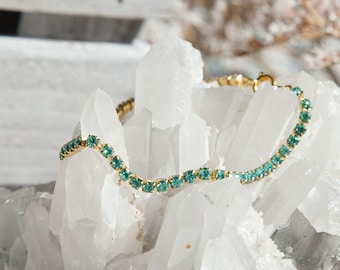 Green Bracelet, Mint Green Bracelet, Stacking Boho Style, Sparkling Boho Bracelet, Boho Chic, Turquoise Bracelet, Teal Bracelet Teal Jewelry