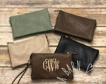 NEW SPRING COLORS! Monogrammed Crossbody Clutch | Vegan Leather | Crossbody Bag | Clutch | Wristlet Wallet | Personalized