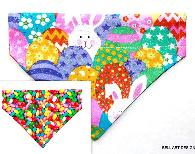 EASTER ~ Bunny, Jelly Beans, Over the Collar ~ Dog Bandana ~ Reversible ~ Bell Art Designs ~ Small DCS532