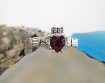 Garnet CZ Birthstone Claddagh Ring -Sterling Silver made with Swarovski Stones. January Birthstone*